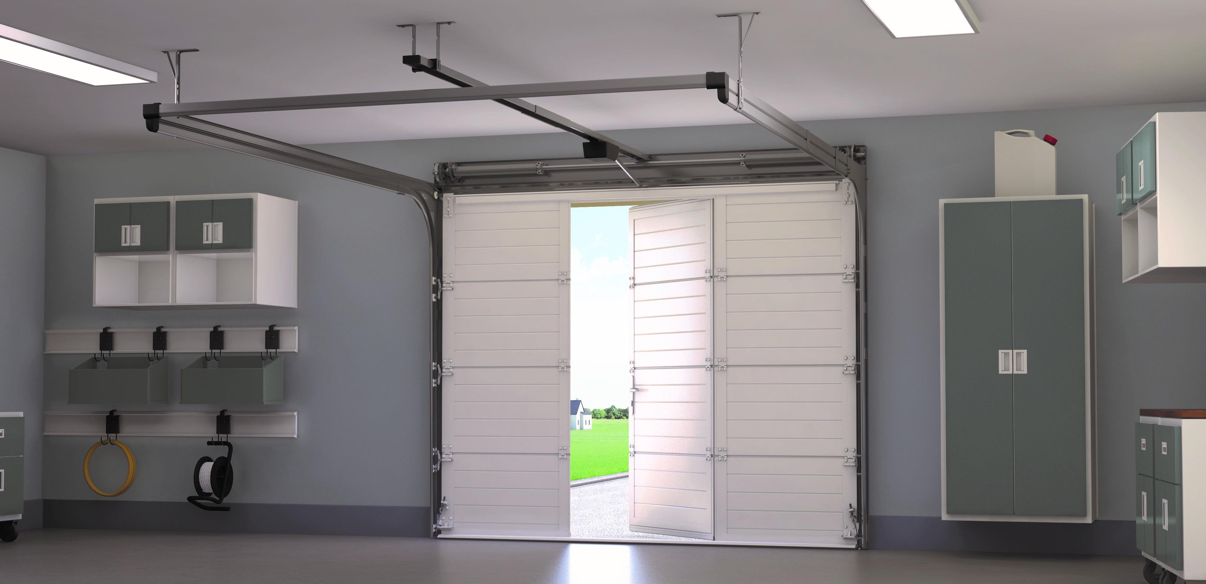 Porte de garage sectionnelle plafond MAORI «France Fermetures» Vue intérieure